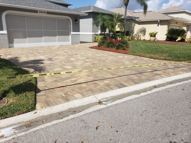 Home in Whiskey Creek, FL after we sealed their driveway pavers