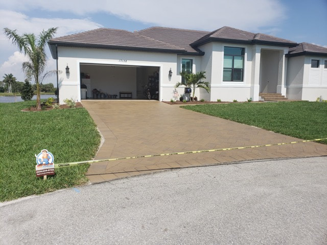 Home near Villas, FL 33907 after getting its brick pavers sealed.
